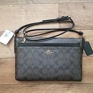 Coach East West Crossbody F58316 Signature Brown
